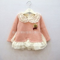 Free shipping New 2013 Qiu Dong New Girl lace collar wool coat