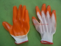 50pairs/lot working safety supply Dipped gloves wear-resistant rubber slip-resistant 13 needle pvc cow muscle gloves 0.47