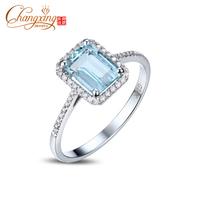 1.62ct Emerald Cut 6x8mm Blue Aquamarine Pave Diamond 14k Gold Engagement Ring