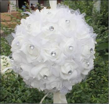 New Creative Fashion Pure White Wedding Decorations Flower Balls Beautiful Diamond Simulation Rose Cartoon Bouquet Free Shipping