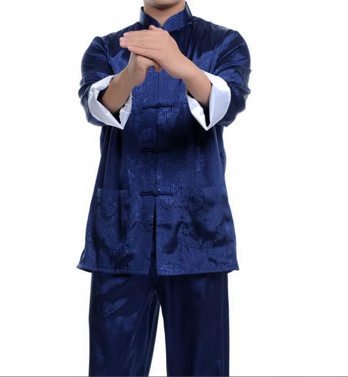 Wholesale New Blue Chinese men's silk kung fu suit pajamas SZ: M L XL 2XL 3XL Free Shipping(China (Mainland))