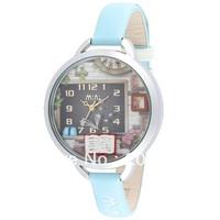 MN987 MINI watch double layer glass 3D book watch DIY Handmade Genuine Leather Quartz Ladies watch 1pc+free shipping