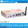 Free shipping fanless alluminum mini pcs with Intel Celeron C1037U 1.8GHz directx11 COM Wifi optiona 2G RAM 160G HDD  L3 2MB