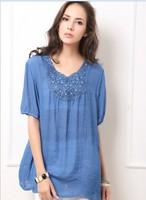 special big size women jeackets  100% cotton blouse  elegant comfortalbe export women top clothing