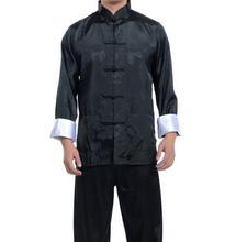 Wholesale New Black Chinese men's silk kung fu suit pajamas SZ: M L XL 2XL 3XL Free Shipping(China (Mainland))