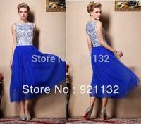 Free Shipping 2015 Top Fashion Women's Vintage Blue and White Porcelain Print Sleeveless Mesh Long Maxi Elegant Dress Blue