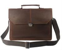 """Free Ship Wholesale Retail Vintage Men Brown FullGrain Real Leather Genuine Tote Bag Shoulder Bag Messenger  14""""Laptop Briefcase"""