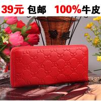 Wallet women's long design wallet zipper bag genuine leather hanging beads wallet cowhide clutch