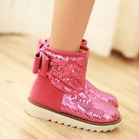 2013 boots bling bow flat heel candy thermal snow boots