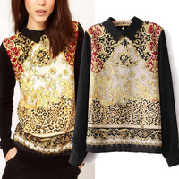 2013 new Totem Floral blouse vintage decorative pattern women's long-sleeve shirt