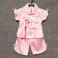 Child tang suit xiao fengxian embroidery folding fan pendant tang suit set girl set