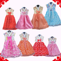 Female child dress one-piece dress tank dress butterfly flower powder