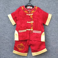 2013 summer child tang suit male child set purplish red