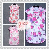 Short in size summer princess dress one-piece dress chinese cheongsam style female child cheongsam small cheongsam
