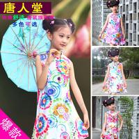 Attractive fruit girls sleeveless one-piece dress 100% cotton comfortable child tang suit cheongsam female child summer dress