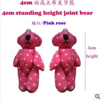 60pcs 4CM free shipping wholesale mini plush teddy bear joint bear with polka dots 3colors pink rose/white/blue