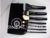 Free shipping 2012 New 7 pcs Brand He/llo K*itty Makeup Brush Set kit & Black Faux Leather BAG