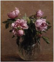 Beautiful Oil painting Henri Fantin Latour - Vase of Peonies flowers in vase