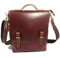 Wholesale&Retail High Class Fashion Men's Brown 100% Full Grain Bull Real Leather Shoulder Bag Messenger Sling Bag Briefcase 303