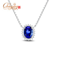 1.92ct AAA Violetish Blue Tanzanite Diamond Pendant Necklace Clavicle Chain 18K Gold