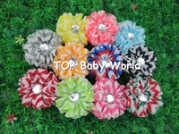"2013 HOT 2.4"" chiffon chevron baby hair flowers with clear stone in center,kids hair accessories.50pcs/lot free shipping"