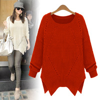 2013 autumn new  fashion women's o-neck  basic loose irregular sweep sweater