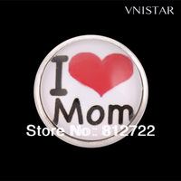 Best Seller! Vnistar I Love Mom Button Noosa Chunk, Free Shipping Noosa Gifts For Mother's Day, 30pcs/ lot, NC201