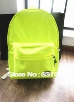 Simple solid color shoulder bag leisure bag backpack schoolbag schoolgirl fluorescent color