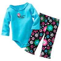5sets/lot, Girls Flowers 2pcs Long Sleeve Set, Baby Bodysuit + Pant Clothing Set,  freeshipping
