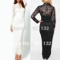 Free Shipping New Fashion Ladies' V-Neck Maxi Dress Plus Size V-neck Lace Long Sleeve Slim Maxi Party Evening Dress Black/White
