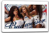 scrb232 Budweiser King Beer Sexy Ladies Bar Stretched Canvas Print Sign Wholesale Dropshipping