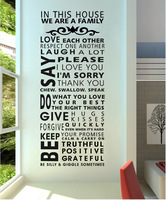 "Famous English family rules/quotes/saying/words "" we are a family"" decorative pattern fashion waterproof wall stickers"