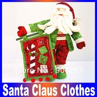 Christmas ornament green clothes santa claus christmas indoor decoration Free Shipping