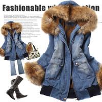 Women's winter denim cotton-padded jacket outerwear cotton-padded jacket outerwear parka womens winter Snow Wear
