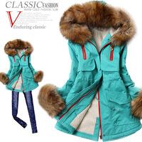 Winter 2014 women's slim with a hood large fur collar wadded jacket plus size parka women coats winter fashion 2014
