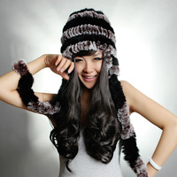 Free Shipping, 100%Real Rex Rabbit Fur Hat, Knitted Genuine Rabbit Fur Cap Women, Natural Fur*WHOLESALE & RETAIL SU-1346
