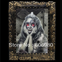 Halloween Horror Audible Voice Luminous Color Girl Magic Photo Frame Plastic + Electronic Components Haunted House Dressup