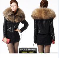 Fashion luxury super large raccoon fur sheepskin genuine leather motorcycle short design leather clothing fur coat Women