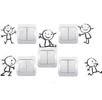 Baby child real wall stickers socket switch sticker cartoon doll