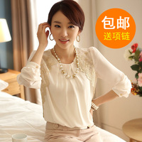 2013 autumn chiffon shirt female long-sleeve lace top basic shirt casual shirt female