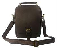 Free ship Wholesale&Retail Cool Men's Brown Full Grain Genuine Leather Shoulder Bag Messenger Bag Leisure Sling Bag Size M