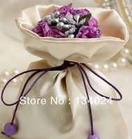 Hot fashion cheao free shipping wedding gift satin candy bags for wedding favors purple