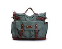 New 2013 the bag brand handbag canvas+genuine leather women/men luggage & travel bags,large men messenger bagsHB29