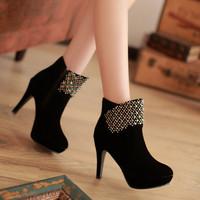2013 new fashion boots for women elegant ol round toe ultra high heels rhinestone boots women's thick heel wedding shoes