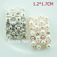 Free Shipping!100pcs/lot 12*17MM rhinestone button for wedding invitation embellishment Scrapbooking Napkin Ring