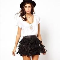 2014 new fashion PU leather fringed skirt,Three PU leather fringed skirt lined skirts,British style fashion tassel skirts