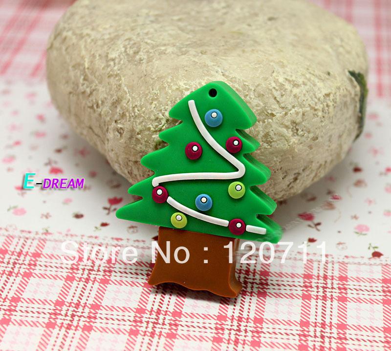 E-DREAM 4-32GB Free shipping Wholesale cheap Christmas gift Cartoon Christmas tree 2 USB Flash Drive Pen drive Personality Gift(China (Mainland))