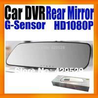 "Freeshipping Full HD 1080P Black box Car DVR Rearview mirror HDMI output 2.7"" Super Slim Design Built in G-Sensor Night vision"