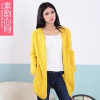 - sweater outerwear female medium-long cardigan plus size mm long-sleeve sweater