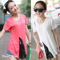 Short-sleeve T-shirt 2013 female summer new arrival slim medium-long short female t t women's top